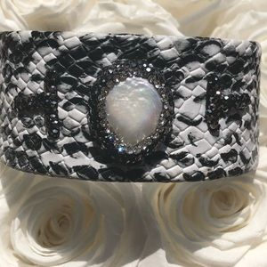 Jewelry - Faux snake skin cuff with beautiful stones